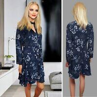 M&S DRESS UK10 BLACK MIX FLORAL PRINT SHORT FIT&FLARED LONG SLEEVE TIE NECK #48