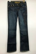 Sinful women jeans by affliction with Crosses Embroidery and Yellow Stitching 24