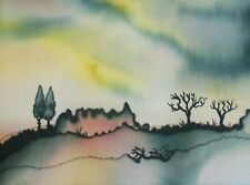 German Expressionist Landscape Painting on Silk - Unsigned - Mid 20th Century