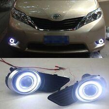 For 2011-2014 Toyota Sienna Front Bumper Lights Driving Fog Lamps+angel eye kit