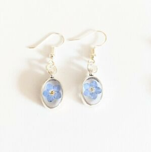Handmade Real Forget Me Not Flower Resin Drop Earring Botanical Floral Gift