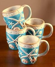 NEW  4 PC Coastal Cottage Mug Set Coffee Cups Seaside Beach Starfish Nautical