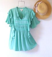 New~$68~Mint Green Ruffle Crochet Lace Blouse Spring Boho Top~Size Large L