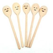 Wooden cooking spoon  5 piece beech wood 30 cm Cute decorative end