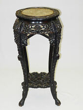 ANTIQUE QING CHINESE HEAVY CARVED WOOD DRAGON MOTIF MARBLE TOP JARDINIERE STAND