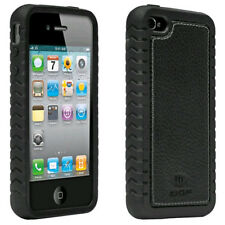 Ballistic TPU Shell Case with Leather Inlay for Apple iPhone 4/4S (Black)