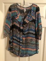 Moa Moa Women's  Pullover High Low Tunic 3/4 Length Sleeves Top XL