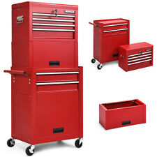 6-Drawer Rolling Tool Chest Storage Cabinet Toolbox Combo Locking w/Riser Red