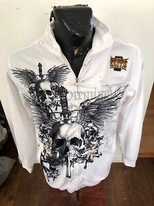 MENS Small MMA Elite UFC ZipFront Jacket Black White Skull Premium Gear