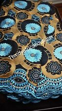 Sale: Black/Gold/Turquoise blue Swiss voile lace fabric with multi color Crystal