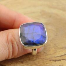 Cut Labradorite Square 925 Sterling Silver Ring UK Size N-US 6 3/4