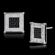 TS481 STERLING SILVER black white  EARRINGS SIMULATED DIAMONDS STUDS STUD SQUARE
