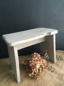 Rustic Vintage Painted Elm Stool Palest Blue Green Grey Rustic Country House