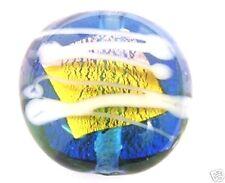 20 ORO sventate vetro di Murano Vetro Perline Disco 16mm Blu