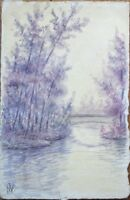 Original Art 1902 Hand-Painted Postcard - Rustic River Scene in Purple 2