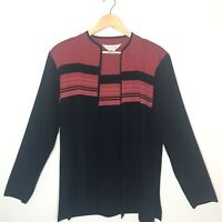 Exclusively Misook Womens Cardigan Striped Open Front Black Red Size XL