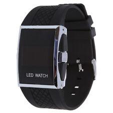 Luxury Digital Mens Red LED Light Sport Wrist Watch Gift Style - Black E4U5