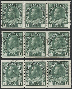 Canada 3 x #125 1c Admiral Coil Strips of 3, Different 1917 Flag Cancels