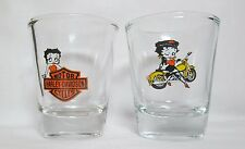 Betty Boop Motorcycle Logos on 2-pc. Set Clear Shot Glasses   Lot #1