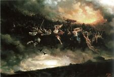 Oil painting Åsgårdsreien, a Norse version of Wild Hunt Warfare free shipping @