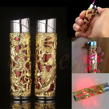 Dragon Shape Refillable Butane Windproof Cigarette Cigar Lighter Torch Golden
