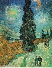 Vincent Van Gogh Road with Cypress and Star Handmade Oil Painting 24''x36''