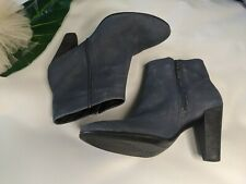"ECCO Leather Ankle Boots Size 3 EU36 blue nu-buck leather 3.5"" heel"