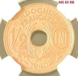 1940 French Indo China. i/2 Cent Bronze Coin NGC MS 65 RB