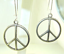 """New  Larger cut-out  Silver-tone  PEACE Sign   Dangle Earrings   2""""  long"""