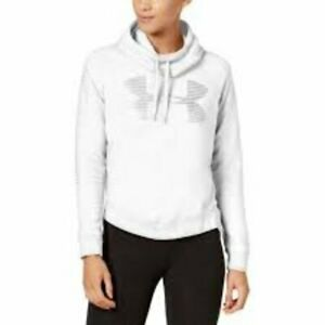 Under Armour Womens Favorite White Fleece Silver Metallic Logo Large Hoodie NWT