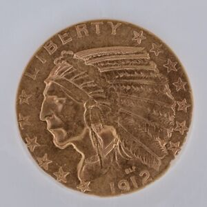 1912-S  INDIAN HEAD  HALF EAGLE $5 GOLD COIN. EXCELLENT CONDITION AND VERY RARE