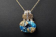 """14k Yellow Gold 5 ct Topaz Pave Diamond Necklace Pendant 18"""" Chain NG210"""