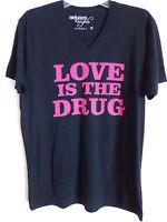 Rockstars & Angels black v neck tee t shirt love is the drug  SZ M New 79 Euro
