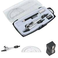 Compact Maths Geometry Set w/ Compass Ruler Protractor Squares Sharpener Kit WL