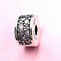 Authentic Pandora Silver 925 ALE Shining Elegance Clip Pink Charm 791817 #RZ