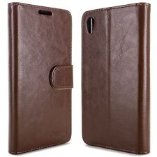 for Sony Xperia Z5 Wallet Case - Brown Folio Faux Leather Pouch LCD