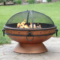 """Sunnydaze 30"""" Fire Pit Steel with Copper Finish with Handles and Spark Screen"""