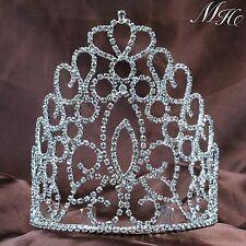"""Royal Bridal Tiara w/ Hair Combs 5.6"""" Clear Rhinestone Crowns Diamante Headpiece"""