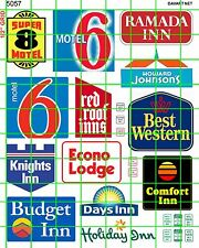 5057 DAVE'S DECALS HO 1:87 MODERN AMERICAN HOTEL MOTEL ADVERTISING SIGNAGE MORE
