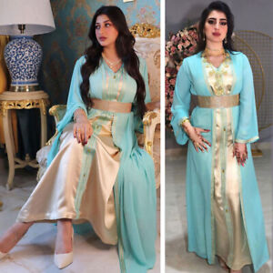 Muslim Abaya Open kaftan Dress Sets Women Cardigan Long Gown Ramadan Party Robe