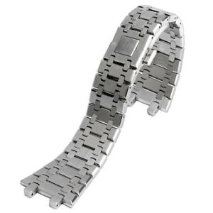 28mm Solid Stainless Steel Men Wrist Band Strap Silver Bracelet For AP Watch