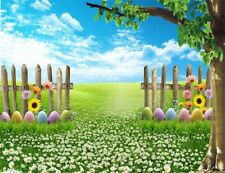 Easter Eggs Spring Flowers Grass Blue Sky 7x5ft Vinyl Backdrop Photo Background