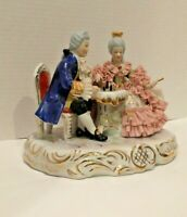 Dresden Porcelain Figurine Couple playing Chess