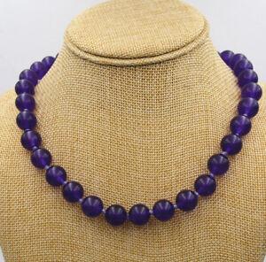 12mm Purple Amethyst Round Gemstone Bead Necklace 18'' Tibetan Silver Love Clasp