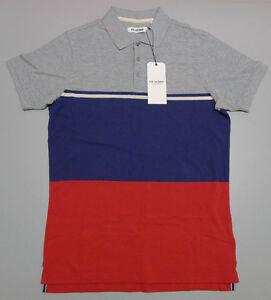 NEW Ben Sherman Men's Small Striped Red White Grey Blue Cotton Polo Shirt $79.95