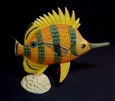 RESIN FISH & CORAL FIGURINE 5 3/4 INCHES TALL UNBRANDED