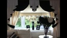 DESIGNER CURTAINS SWAGS AND TAILS PLAIN BLACK & WHITE OR IVORY IMI SILK
