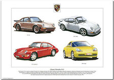 CLASSIC PORSCHE 911 - Art Print - Coupé Carrera 2 SC & Turbo models illustrated