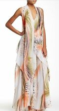 NWT $194 TOV Layered Chiffon Maxi Cascading Printed Dress,sz.40/ M