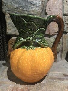 Vintage Majolica Hand Painted Orange Pitcher Portugal Juice Water Pitcher Unique